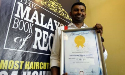 Barber From Perak Earns Malaysia Book of Records Title With 144 Haircuts in 24 Hours! - WORLD OF BUZZ