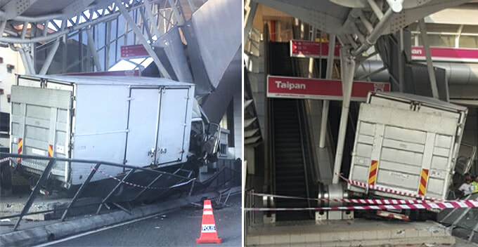 Escalator Damaged After Lorry Shockingly Rams Into It at Taipan LRT Station - WORLD OF BUZZ