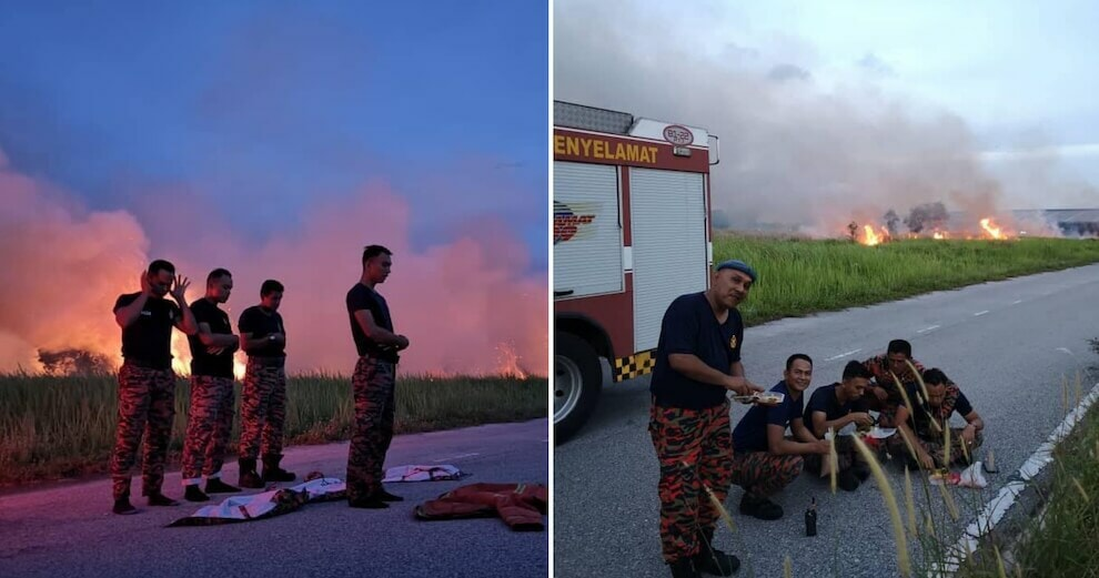 Inspiring Photos Of M'sian Firemen Breaking Fast on Roadside After Extinguishing Fire Go Viral - WORLD OF BUZZ 5