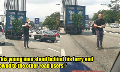M'sian Man Bows And Apologises to Road Users After His Stalled Lorry Caused Traffic Jam - WORLD OF BUZZ