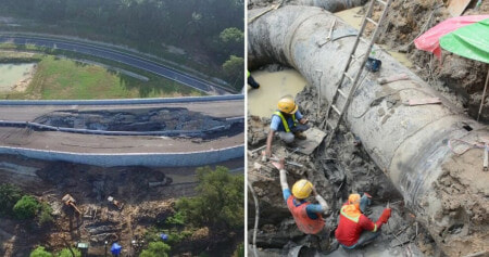 Photos Show Extent Of Damage to Collapsed Expressway That Caused Unexpected Water Shortages in Klang - WORLD OF BUZZ