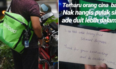 """Selamat Berpuasa, Thanks,"" Non-Muslim Customers Give Kind Note to GrabFood Driver - WORLD OF BUZZ 1"