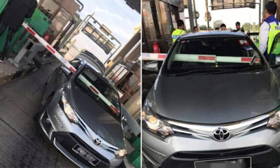 [Video] Toll Barrier Pierces Through Front Window After Vios Driver Failed to Stop In Time - WORLD OF BUZZ