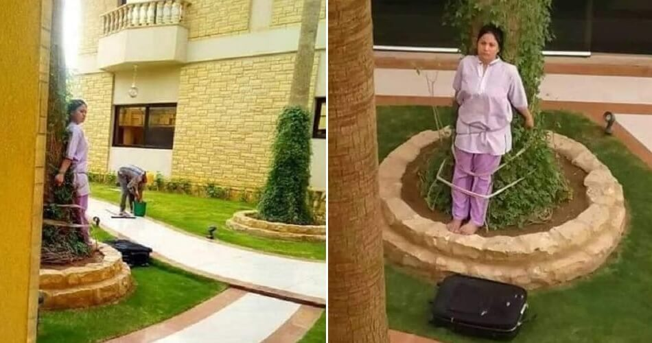 Viral Photo Shows Maid Being Tied to Tree in Hot Sun After Angering Wealthy Employers - WORLD OF BUZZ 3