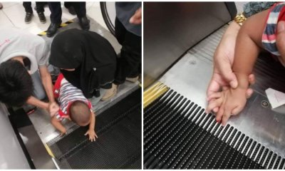 Small Child Gets Finger Stuck In Escalator Skirting In Bintulu Shopping Mall - WORLD OF BUZZ