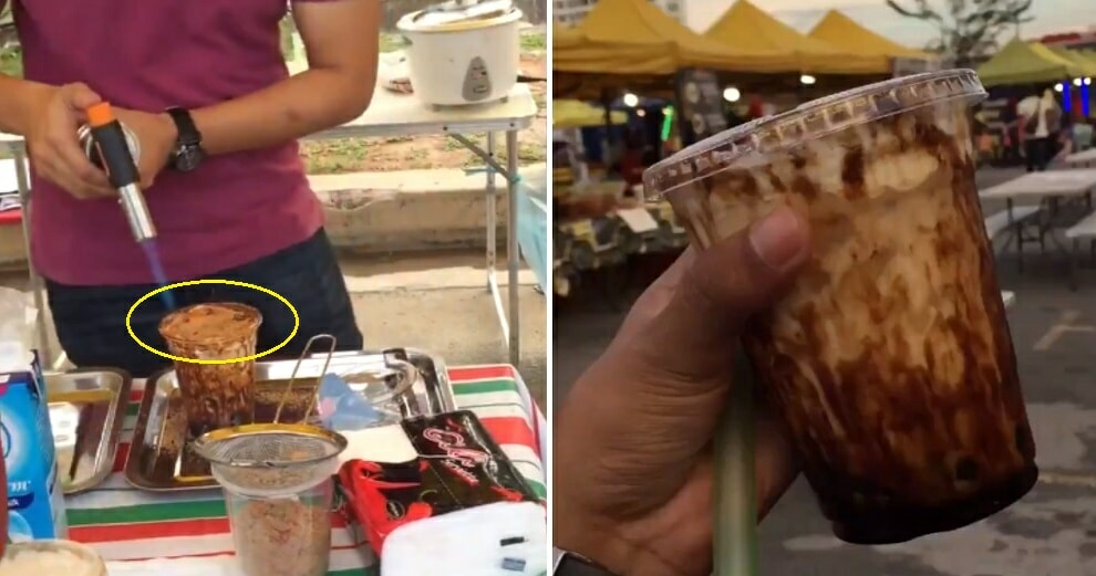 Bubble Milk Stall In Kl Advised By Netizens Not To Use Blowtorch Directly On Plastic Cups - World Of Buzz