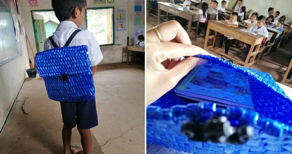 Father Can't Afford to Buy His Son A School Bag, So He Made One Using Only Raffia String - WORLD OF BUZZ 5