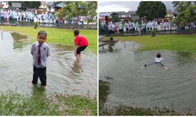 Kid Makes The Rest Of The World Jealous By Swimming In Huge Puddle On His School Field - WORLD OF BUZZ