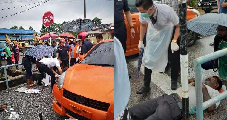 Locals Show True M'sian Spirit By Helping Injured Man, Stands In Heavy Rain Until Ambulance Arrives - World Of Buzz 2