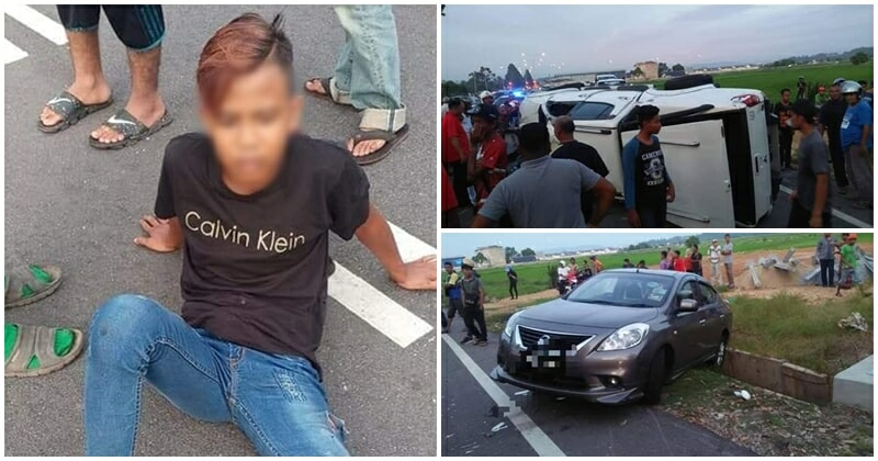 Mat Rempit 'wheelies' His Way To An Accident, Becomes The Cause Of Traffic Collision In Kedah - World Of Buzz