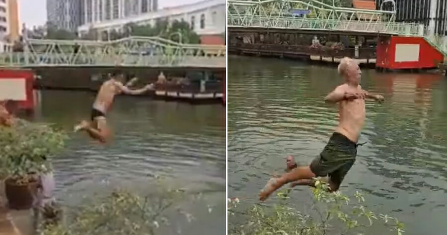 Viral Video Shows Tourists Jumping Into And Swimming at Polluted Melaka River Waterway - WORLD OF BUZZ