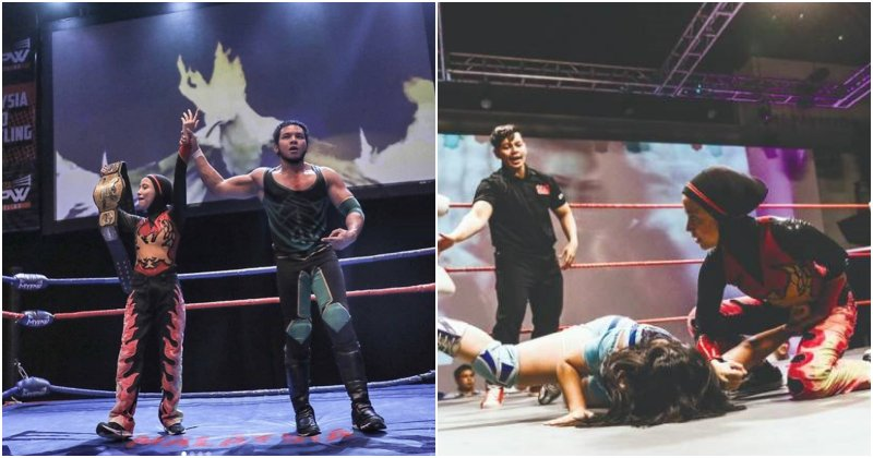 19yo Hijab-Wearing Malaysian Girl Beats 4 Men and Wins Wrestling Championship - WORLD OF BUZZ