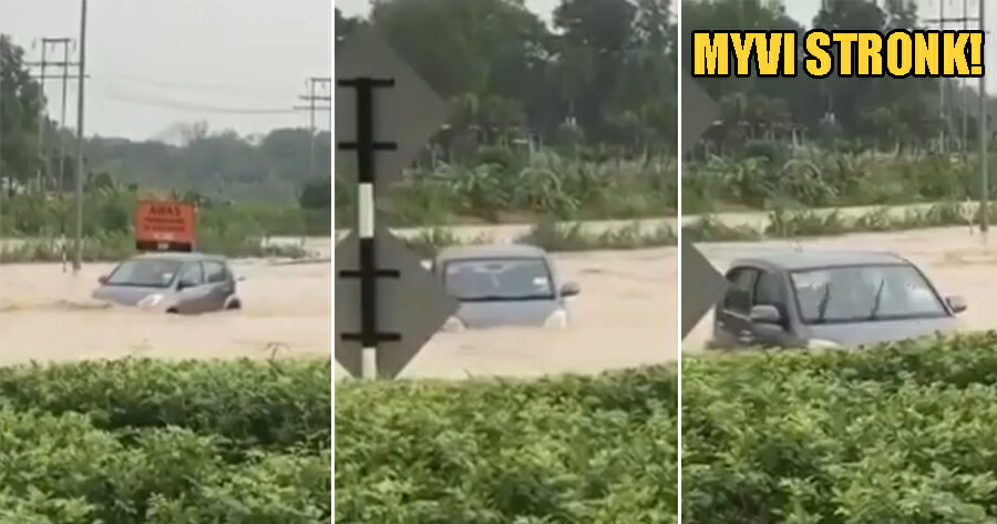 This Myvi is So Power That it Braves Through Massive Flood & Shames Lorries - WORLD OF BUZZ