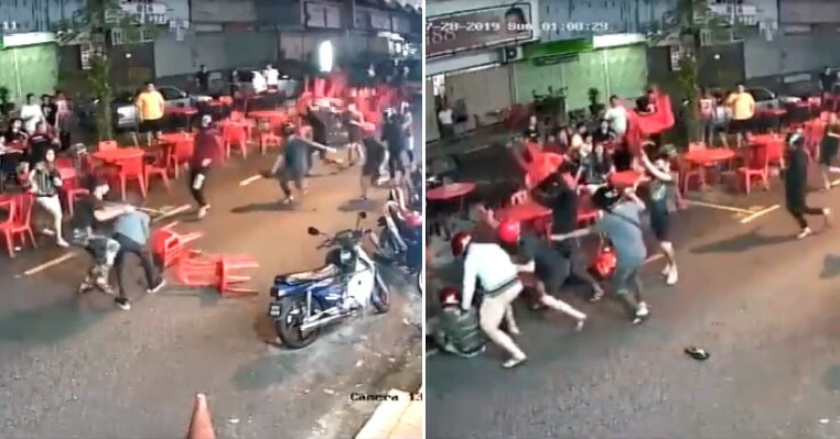 Chairs & Table Fly As Kepong Gangsters Suddenly Attack Group in Mamak, Turns Into Street Fight - WORLD OF BUZZ 5