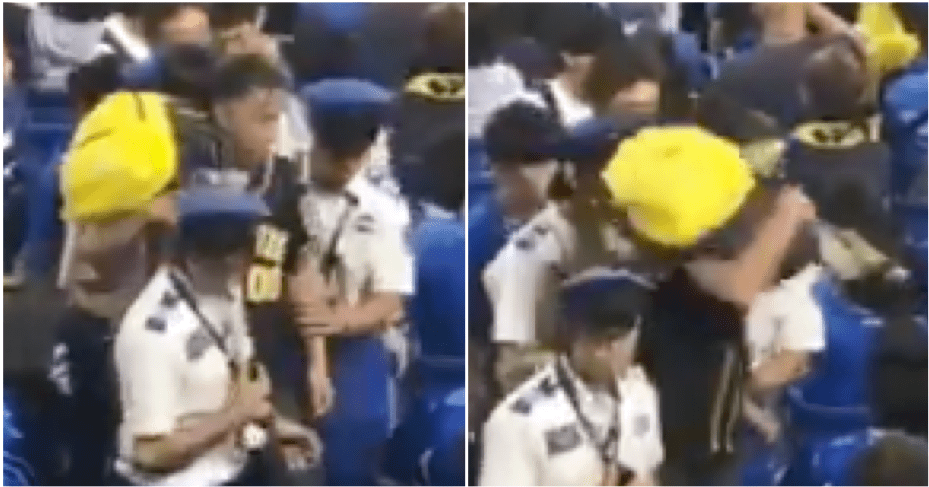 Dad Literally Uses Son As A Weapon To Hit A Rival Fan At The Stadium - WORLD OF BUZZ 1