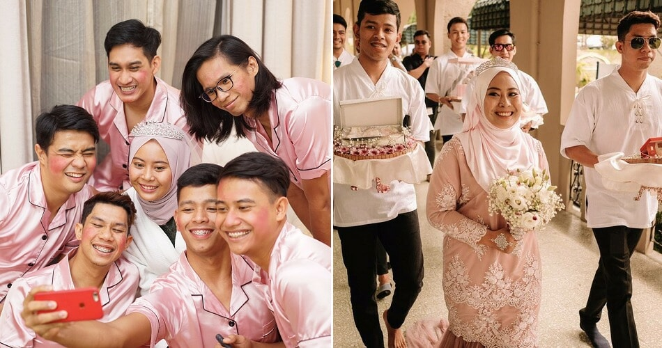 M'sian Girl's Male Bffs Wore Pink Pajamas For Bridal Shoot As They Were The Bridesmaids - World Of Buzz