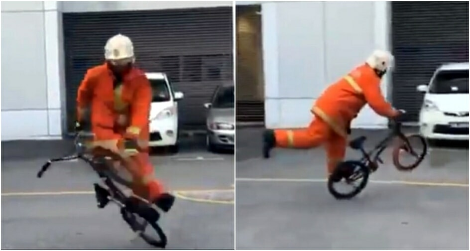 Firefighter Shares Sick BMX Flatland Moves On Facebook Whilst In Full Gear - WORLD OF BUZZ 4