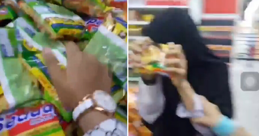 Watch: 3 Secondary School Girls Crush & Punch Mi Sedaap and Indomie Packets in Supermarket - WORLD OF BUZZ