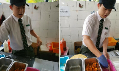 Malaysian Student Willingly Sacrifices Rehat Time So He Can Help Canteen Aunty Sell Her Food - WORLD OF BUZZ