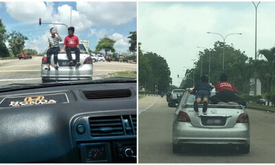 Parenting Fail: Parents Allow Children Ride On The Roof Of Their Car, Runs A Red Light In The Process - WORLD OF BUZZ 1