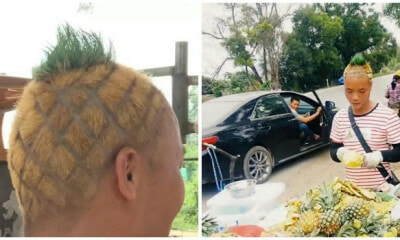Pineapple Stall Owner Got A Matching Hairstyle To Boost His Sales and It Actually Happened! - WORLD OF BUZZ