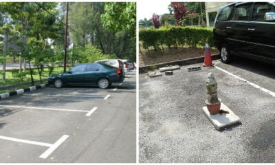 Viral Tweet Shows Somebody Chup-ing Parking Spot With A Headstone in Johor - WORLD OF BUZZ