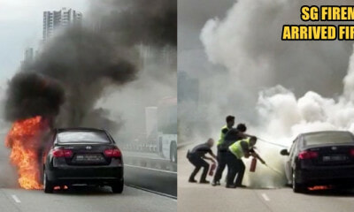 Singapore Car Caught on Fire in The Middle Of Johor-Singapore Causeway, Firemen from Both Sides Came to Rescue - WORLD OF BUZZ