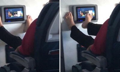 Video Of Passenger Using His Feet to Browse In-Flight Entertainment Grosses Netizens Out - WORLD OF BUZZ