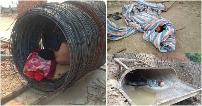 Viral Photos Of Workers Sleeping Among Construction Material Will Make Us Realise How Lucky We Are - WORLD OF BUZZ 3