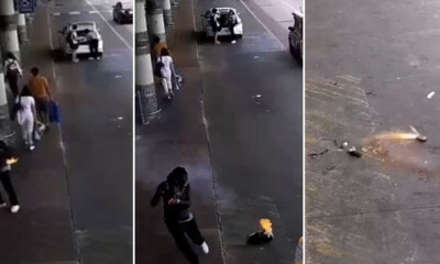 WATCH: CCTV Footage Shows Woman's Backpack Bursts into Flames Because Of Power Bank - WORLD OF BUZZ 1