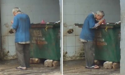 Watch: Heartbreaking Video Shows Skinny Old Man Scavenging for Food in Ipoh Dumpster - WORLD OF BUZZ 2