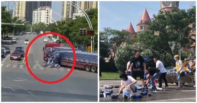 Soft Drink Bottles Spill Out Of A Truck When It Was Turning, Amazing People Kindly Help Pick Them All Up - World Of Buzz