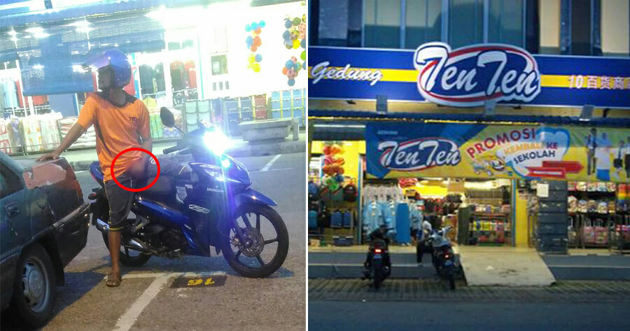 Woman Shocked When Man on Motorcycle Pleasures Himself on Motorcycle In Front of Seremban Supermarket - WORLD OF BUZZ
