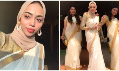 M'sian Girl Embraces Malayalee Culture By Donning Saree With Her Hijab For Her Bridesmaid - WORLD OF BUZZ