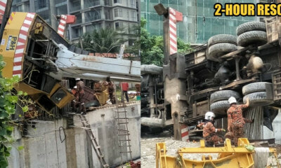 KL Construction Site Worker Pinned Down by a Collapsed Crane and Rescued by Bomba - WORLD OF BUZZ