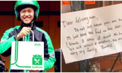 'Knock 3 Times & Yell Ah-Hoo', Shy Family Leaves Note For GrabFood Rider To Leave Food At Their Door - WORLD OF BUZZ
