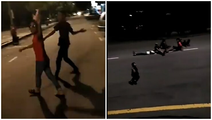 Netizens Are Outraged At These Kurang Ajar Teenagers Shooting At Oncoming Traffic With Slingshots, Tempting Cars To Hit Them By Lying Down On Roads - WORLD OF BUZZ 2