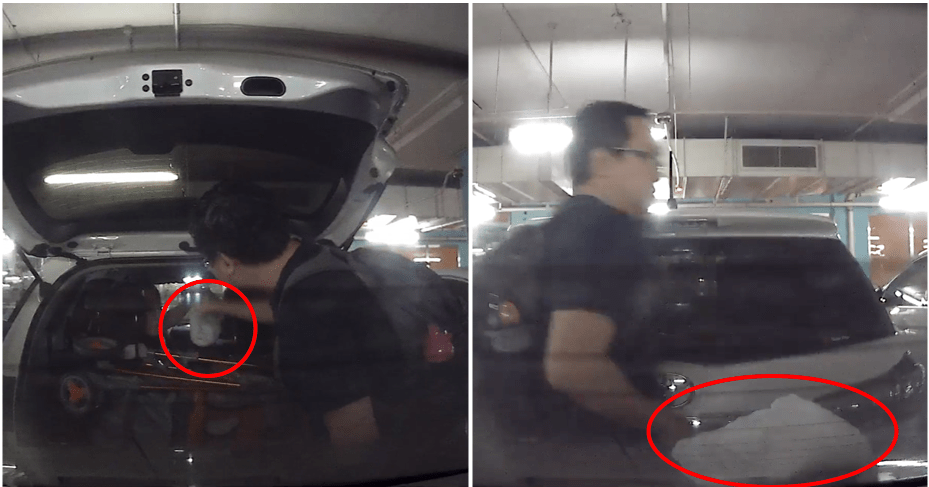 Singaporean Dad Kantoi Being Recorded Throwing Used Diaper On A Car Parked Behind His Car - WORLD OF BUZZ 3