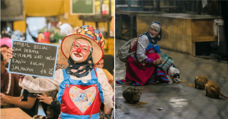 To Care For Stray Cats And Dogs, Perak Lady Dresses Up As A Clown For Funds - WORLD OF BUZZ 4