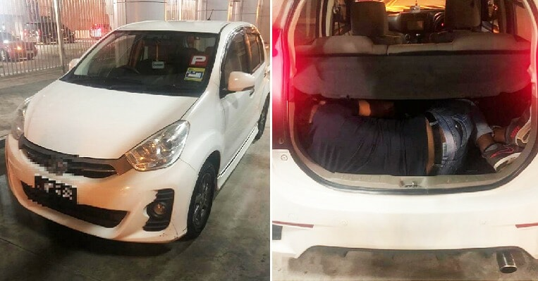 Two Malaysian Women Tries to Smuggle Man Hidden in Myvi Boot Out of Singapore - WORLD OF BUZZ 1