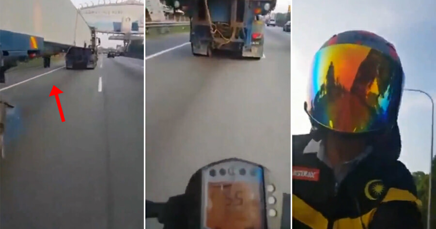 [Video] M'sian Man Tries Dangerous Stunt by Riding Motorcycle Under Trailer & Laughs About It - WORLD OF BUZZ