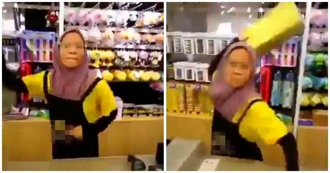 Video of Angry Cashier At Johor Store Yelling and Throwing Things At Mak Cik Goes Viral - WORLD OF BUZZ 5