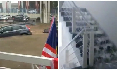 Watch: Flash Flood Creates Waterfall On 16th Floor Of Shah Alam Condominium - WORLD OF BUZZ