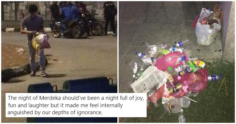 18yo Msian Boy Spent Hours Picking Up Litter After Everyone Proudly Yelled 'Merdeka' & Left - WORLD OF BUZZ