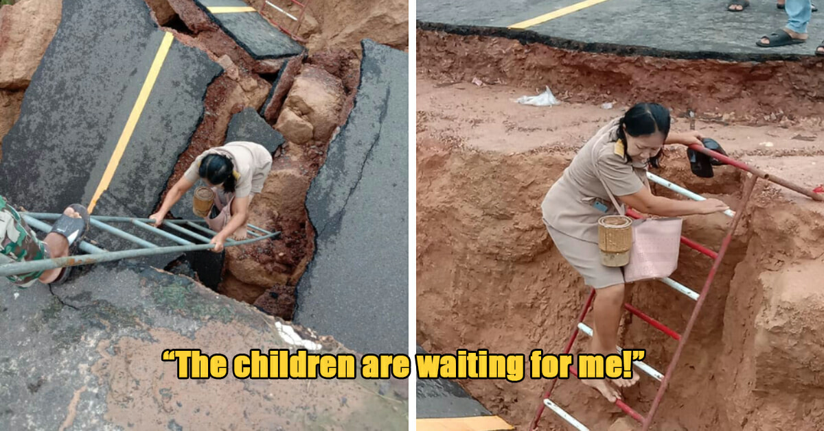 Dedicated Teacher Crosses Road Destroyed By Landslide So That Her Students Won't Have To Miss A Lesson - WORLD OF BUZZ 1