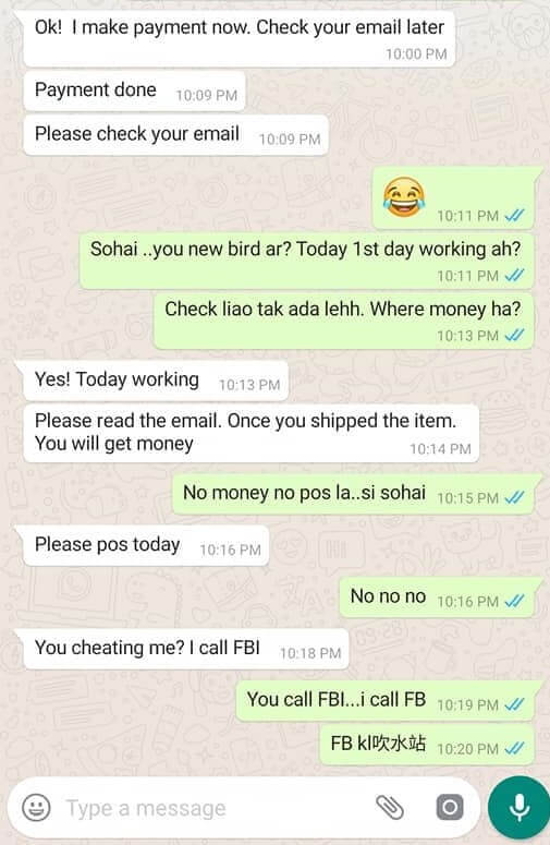 "FB Netizen Posts Hilarious Conversation Of An Alleged Scammer Getting ""Scammed"" Back - WORLD OF BUZZ 1"