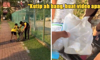 UPSR Student Picks Up Rubbish at Public Park, Scolds Elder Brother for Taking Video Instead of Helping Out - WORLD OF BUZZ 1