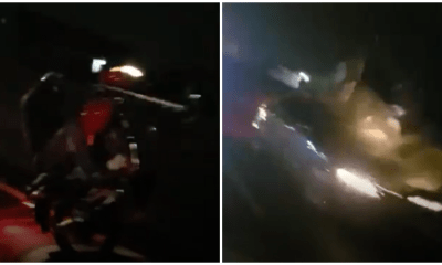Speeding Car Sends Motorcyclist Flying After He Was Performing Wheelies in the Middle of the Road - WORLD OF BUZZ