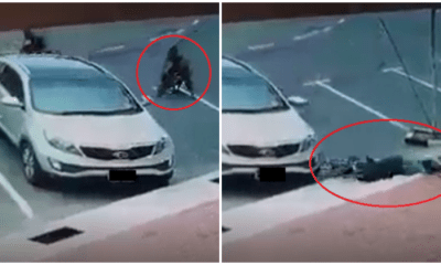 Basikal Lajak Rider Could Not Make Sharp Turn, Slams Into Parked Car & Hits Head On - WORLD OF BUZZ