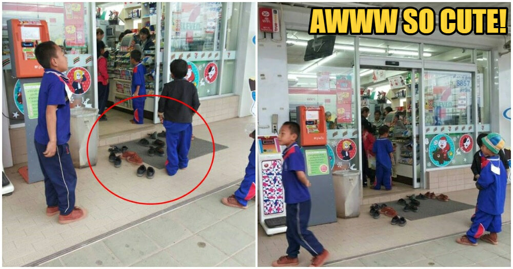 Cute Kids Were So Obedient That They Took Off Their Shoes When Entering A 7-Eleven Store - World Of Buzz 3